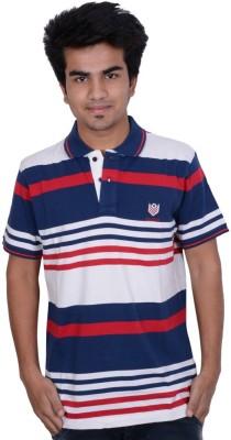 Being Dessi Solid Men's Flap Collar Neck Blue T-Shirt