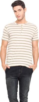 Northern Lights Striped Men's Henley Green, Beige T-Shirt