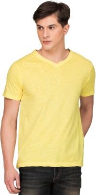 Zovi Solid Men's V-neck Yellow T-Shirt