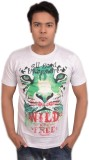 LofoX Printed Men's Round Neck White T-S...