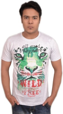 LofoX Printed Men's Round Neck White T-Shirt