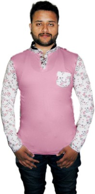 Modish Vogue Floral Print Men's V-neck Pink T-Shirt