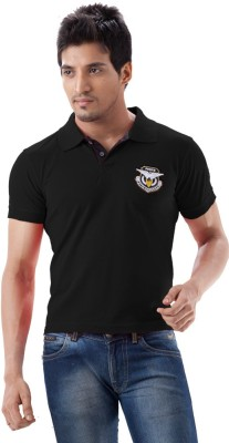 Force Go Wear Solid Men's Polo Neck Black T-Shirt