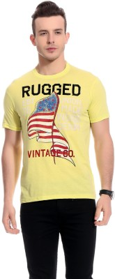 Rose Taylor Printed Men,s Round Neck Yellow T-Shirt