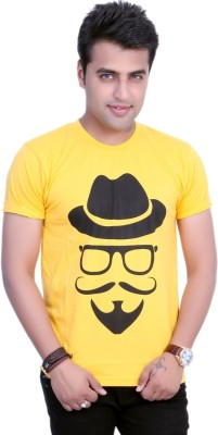 Filimore Graphic Print Men's Round Neck Yellow T-Shirt
