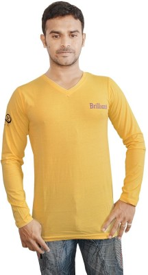 Al-Harsha Trend Solid Men's V-neck Yellow T-Shirt