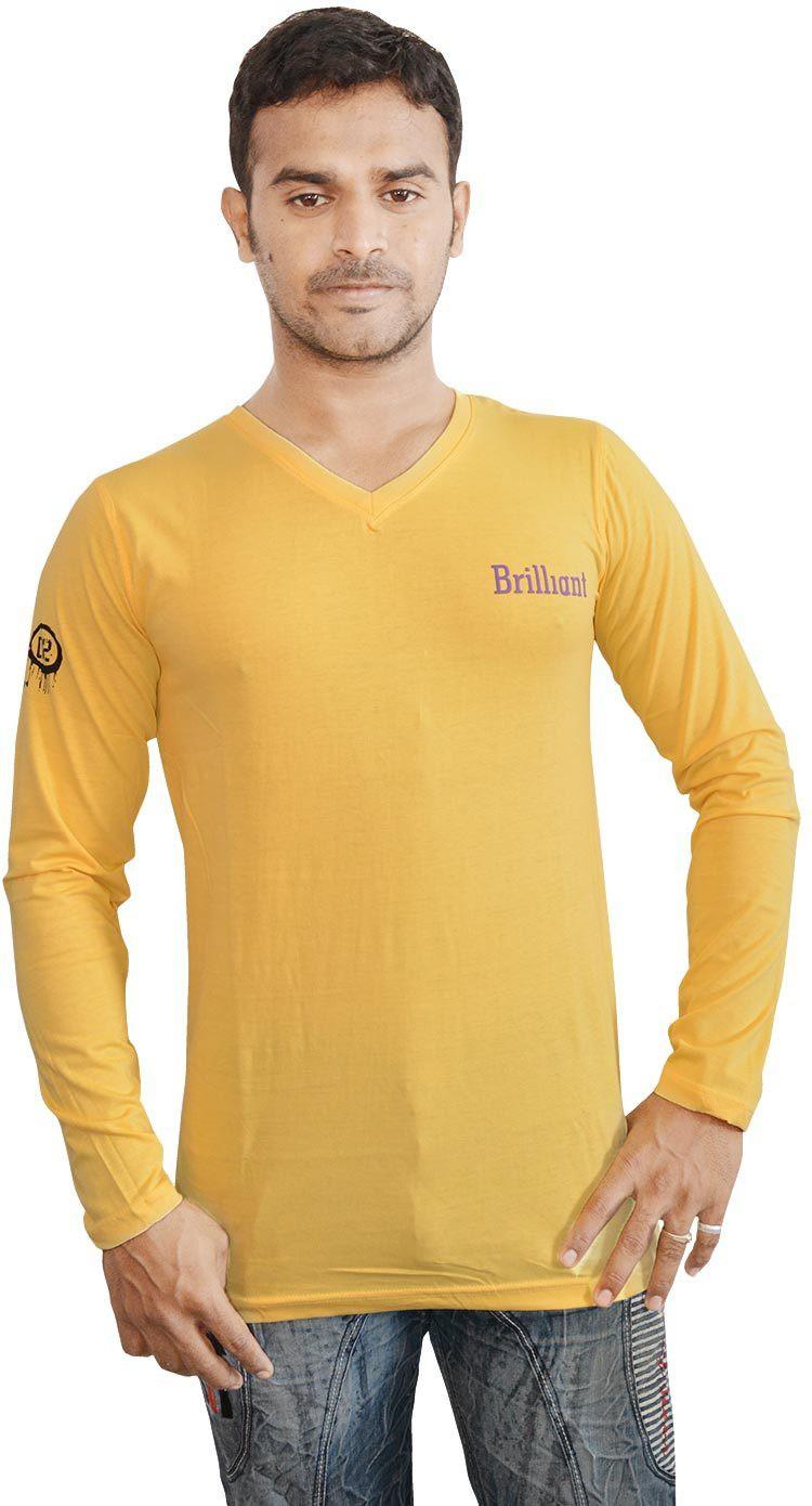 Al-Harsha Trend Solid Mens V-neck Yellow T-Shirt