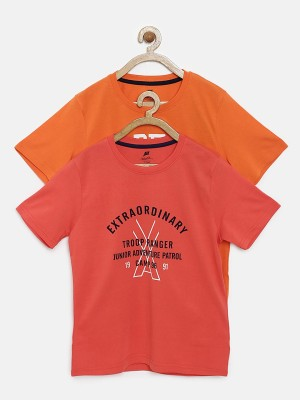 Yk Printed Boy's Round Neck Red T-Shirt