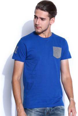 Harvard Solid Men's Round Neck Blue T-Shirt