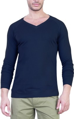 Unkonventional Solid Men's V-neck Blue T-Shirt