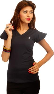 Adam n Eve Solid Women's V-neck Dark Blue T-Shirt