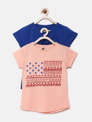 YK Printed Girl's Round Neck Blue T-Shirt