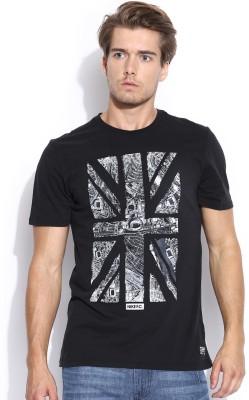 Nike Printed Men's Round Neck Black T-Shirt