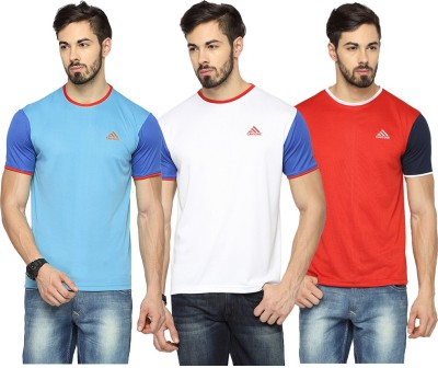 Canyons Solid Men's Round Neck Light Blue, White, Red T-Shirt
