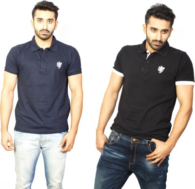 1OhOne Solid Men,s Polo Blue, Black T-Shirt