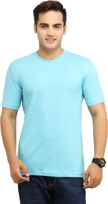 WallWest Solid Men's Round Neck Light Blue T-Shirt