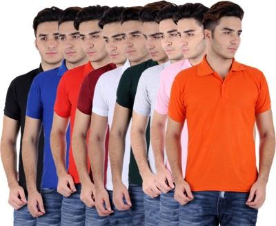 Sanvi Traders Solid Men's Polo Neck Multicolor T-Shirt