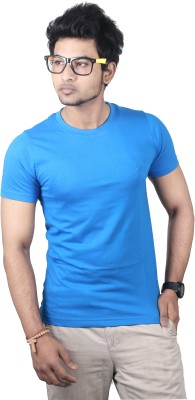 Spur Solid Men's Round Neck Blue T-Shirt