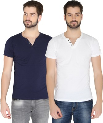 Chromozome Solid Men's Round Neck Dark Blue, White T-Shirt