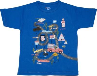 Pepito Printed Boy's Round Neck Blue T-Shirt