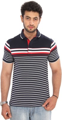 Bongio Striped Men's Polo Neck Multicolor T-Shirt