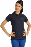 Campus Sutra Solid Women's Polo Neck Blue T-Shirt best price on Flipkart @ Rs. 454