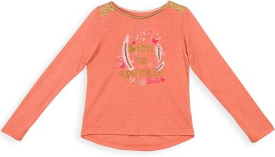 Barbie Printed Baby Girl's Round Neck Orange T-Shirt