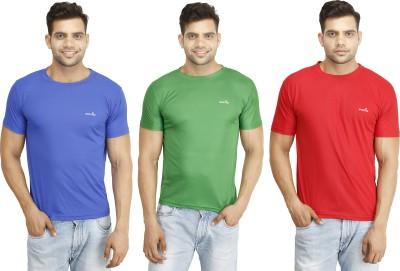 Eprilla Solid Men,s Round Neck Red, Green, Blue T-Shirt