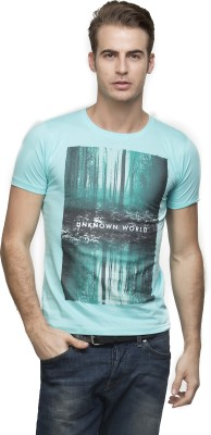 Vsquared Printed Men's Round Neck Blue T-Shirt