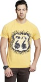 Route 66 Printed Men's Round Neck Yellow...