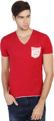 Being Human Solid Men's V-neck Red T-Shirt