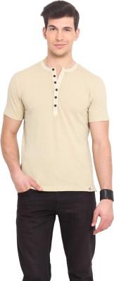 Smokestack Solid Men's Henley Beige T-Shirt