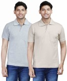 Fleximaa Solid Men's Polo Neck Grey, Bei...