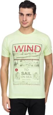 White Square Printed Men's Round Neck Green T-Shirt