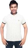 Gallop Printed Men's Polo Neck White T-S...