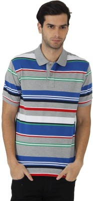 Fahrenheit Striped Men's Polo Neck Multicolor T-Shirt