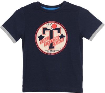 Mothercare Printed Boy's Round Neck Blue T-Shirt