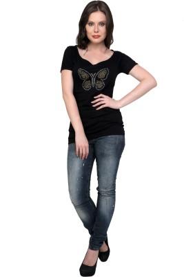 Jake Chiramel Printed Women's Round Neck Black T-Shirt