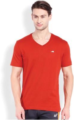 2go Solid Men's V-neck Red T-Shirt