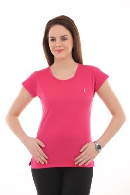 Ultrafit Solid Women's Round Neck Pink T-Shirt