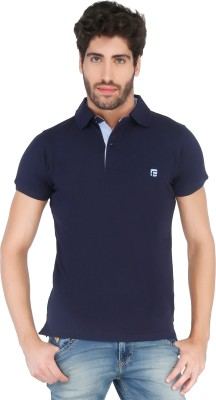 Floe Solid Men's Polo Neck Dark Blue T-Shirt