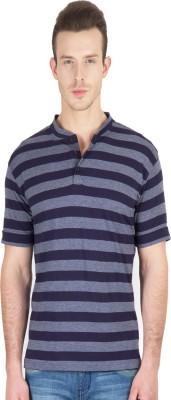 Hypernation Striped Men's Henley Blue, Grey T-Shirt