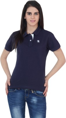 The Cotton Company Solid Women's Polo Neck Dark Blue T-Shirt