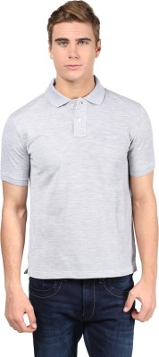 Mine7 Solid Men's Polo Neck Grey T-Shirt