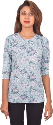 Blueash Floral Print Women's Round Neck Light Blue T-Shirt