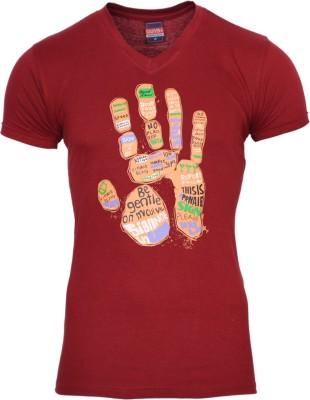 SnowFox Printed Men's V-neck Maroon T-Shirt