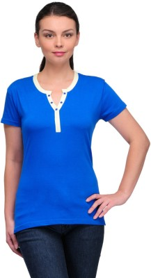 Stilestreet Solid Women's Round Neck Blue T-Shirt