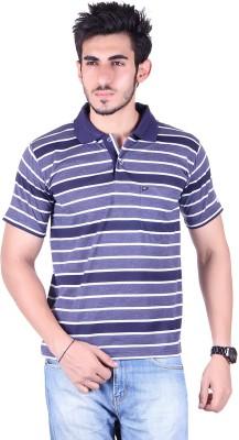 Dearclass Striped Men's Polo Neck Blue T-Shirt