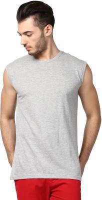 Inkovy Solid Men's Round Neck Grey T-Shirt