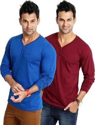 Rodid Solid Men's V-neck Blue, Maroon T-Shirt